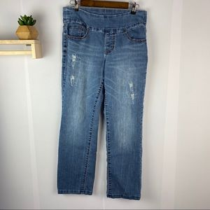 JAG jeans high rise straight leg sz 12 distressed
